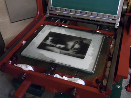 Collotype plate with diazidostilbene (printing)